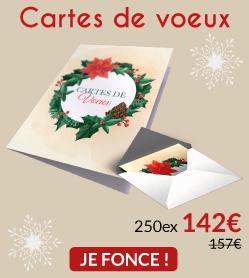 250 Cartes de voeux à 142€ (au lieu de 157€)