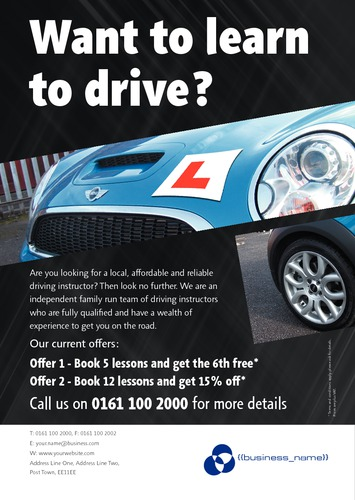 Learning To Drive A5 Leaflets by SC Creative