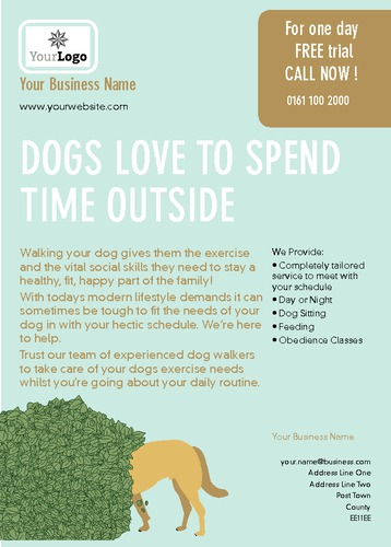 Dog Walkers A6 Leaflets by TemplateCloud Team