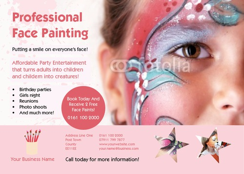 Face Painter A6 Leaflets by Rebecca Doherty
