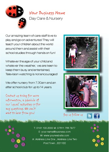 Nursery A6 Leaflets by Miss Laura Marples