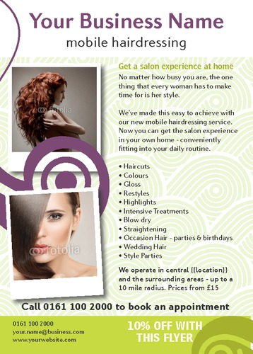 Beauty Salon A6 Leaflets by Ashley Moore
