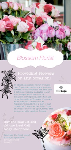 Florist 1/3rd A4 Leaflets by Ro Do 