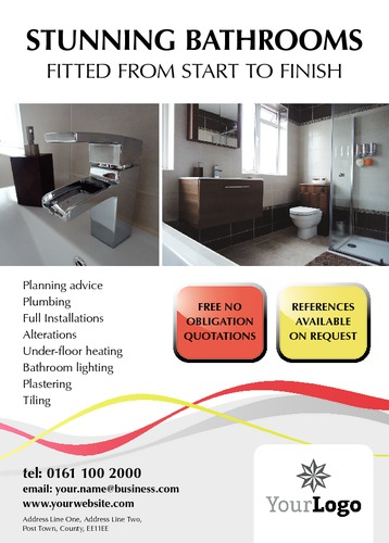 Bathroom Fitters A6 Leaflets by Paul Wongsam