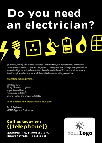 Electrical A5 Leaflets by Paul Wongsam